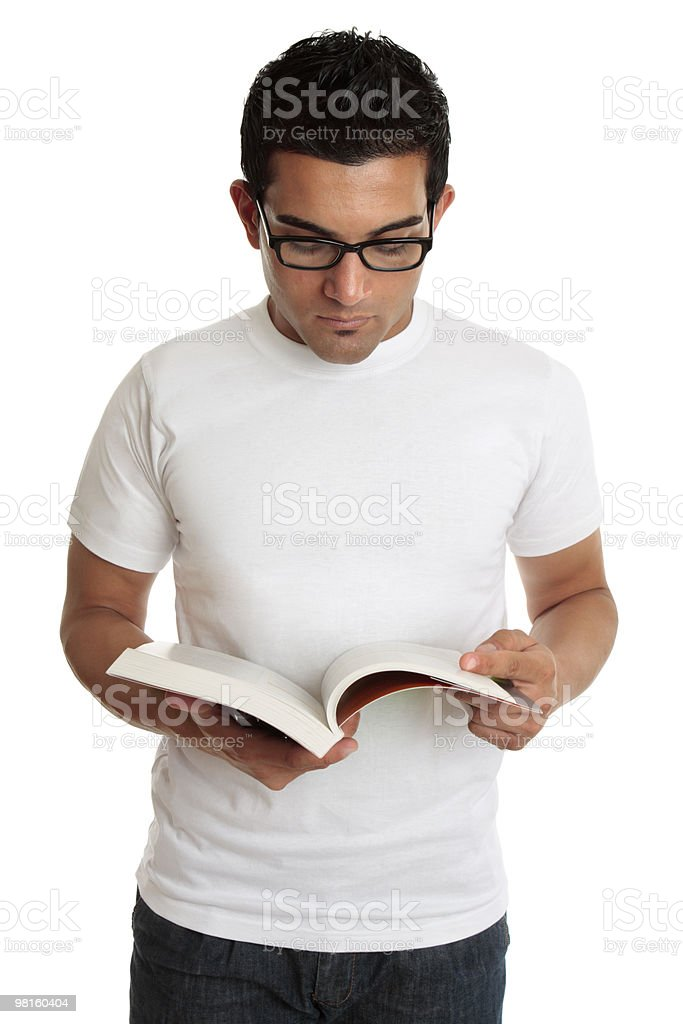 University student or man reading a textbook royalty-free stock photo