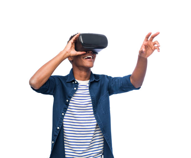 University student with a virtual reality headset stock photo