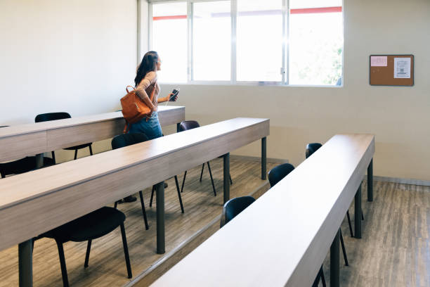 University students arriving to Class stock photo