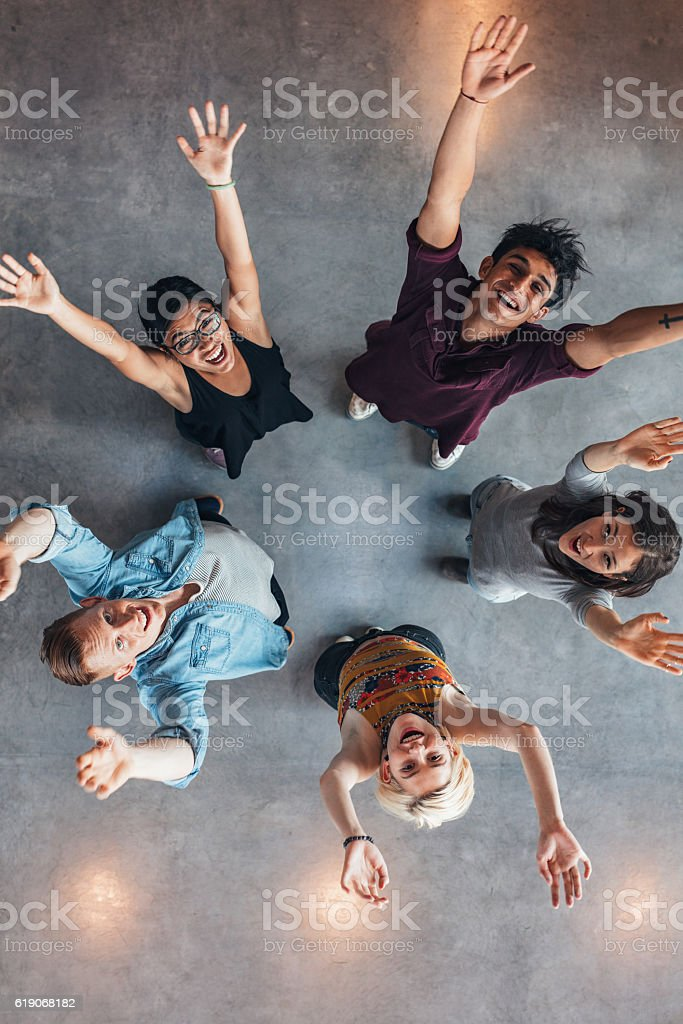 University students cheering stock photo