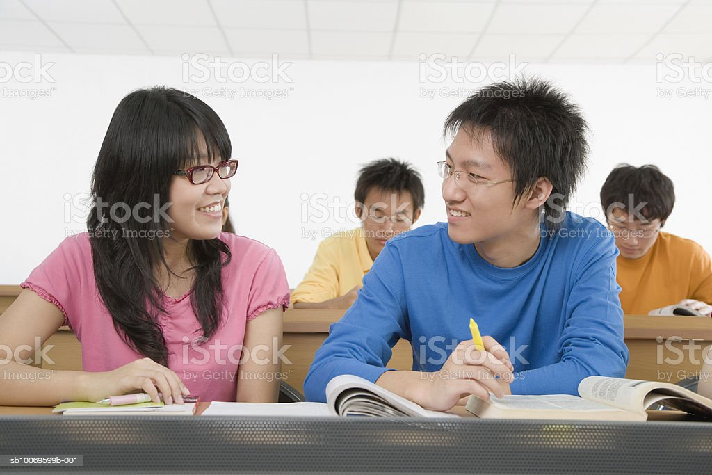 University students in classroom foto de stock libre de derechos