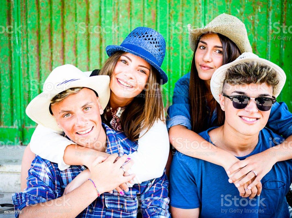 University students in vacation stock photo