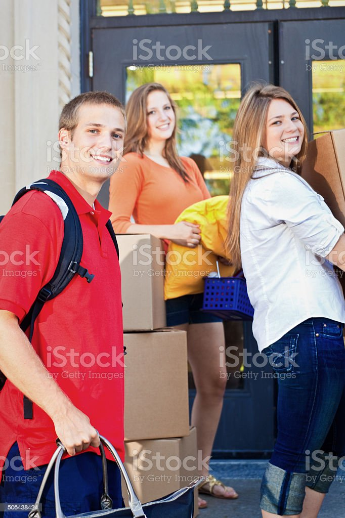 University Students Moving College Dorm Apartment on University Campus stock photo