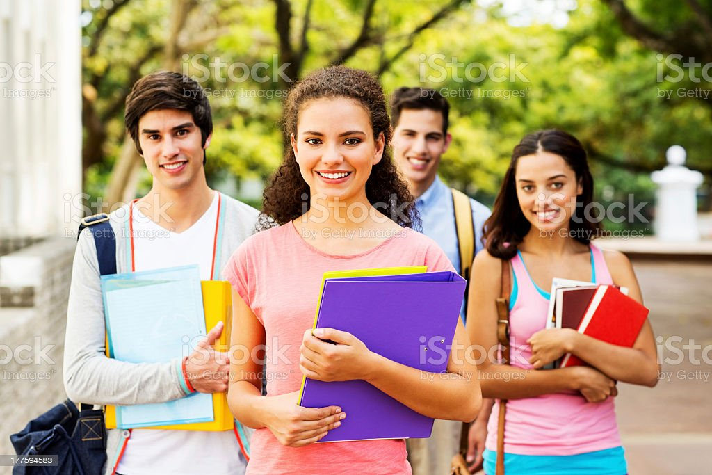 University Students Standing Together On Campus royalty-free stock photo