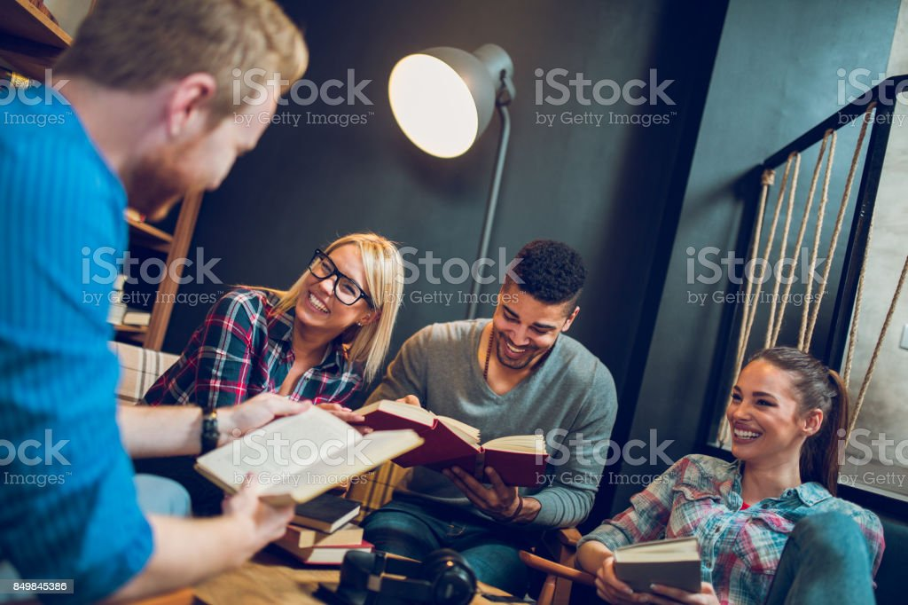University students studying for their upcoming exams. stock photo
