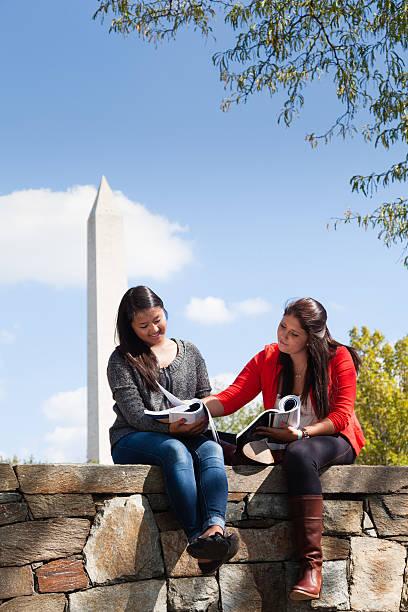 university students studying together in washington, dc - carolinemaryan stock pictures, royalty-free photos & images