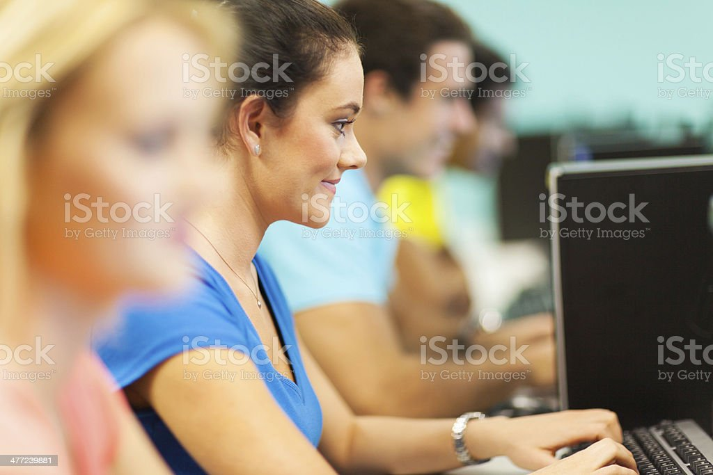 university students using computer stock photo