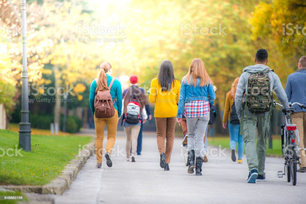 University students walking in campus стоковое фото