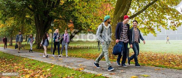 istock University students walking on footpath 646863042