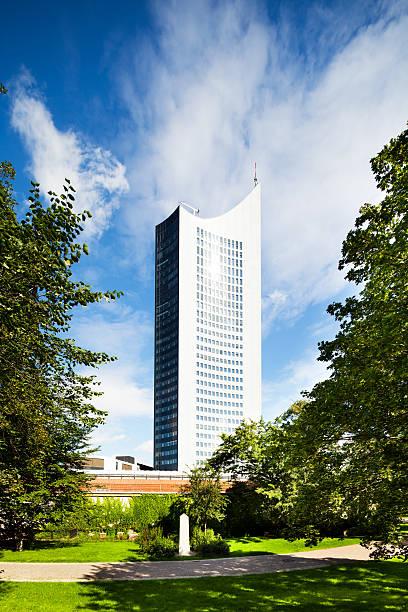 university tower leipzig, deutschland - hochschule leipzig stock-fotos und bilder
