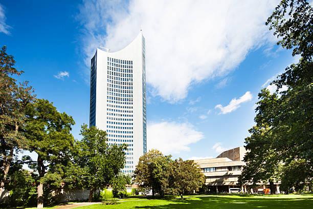 university tower leipzig, deutschland - leipzig universität stock-fotos und bilder