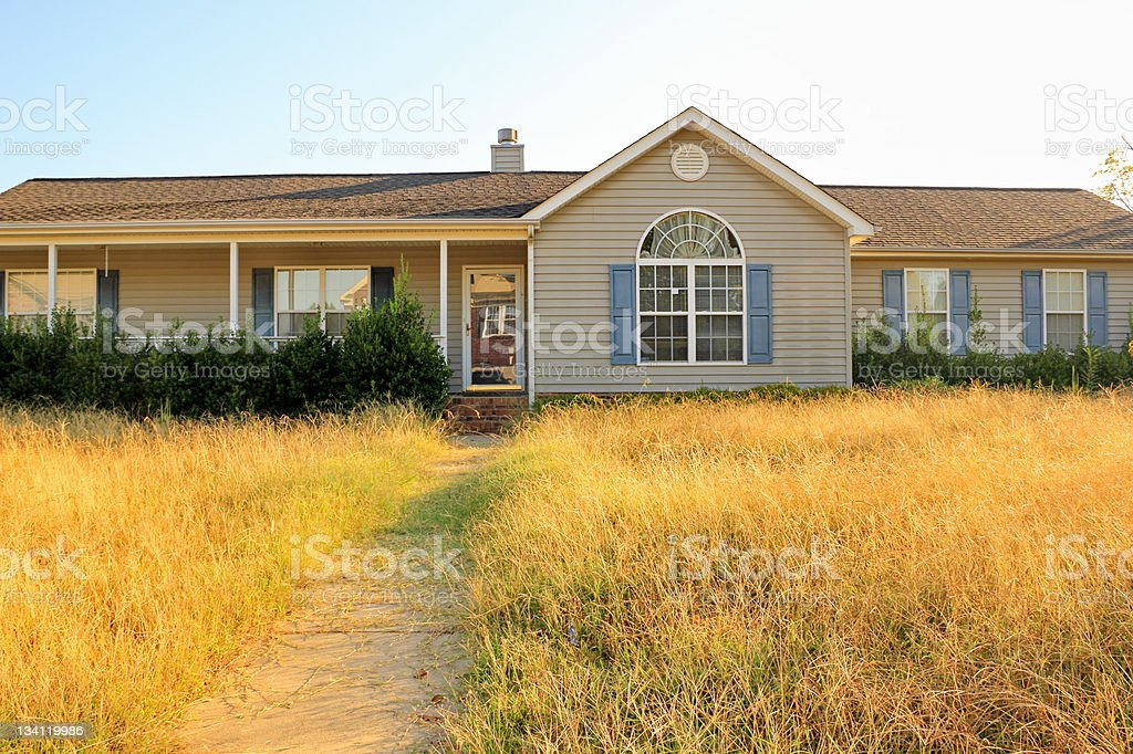 Unkempt Property of Foreclosed Working Class Ranch Style Home stock photo