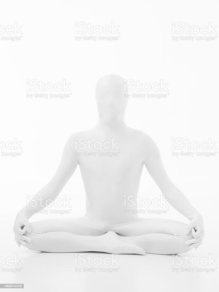 unknow man yoga lotus posture stock photo