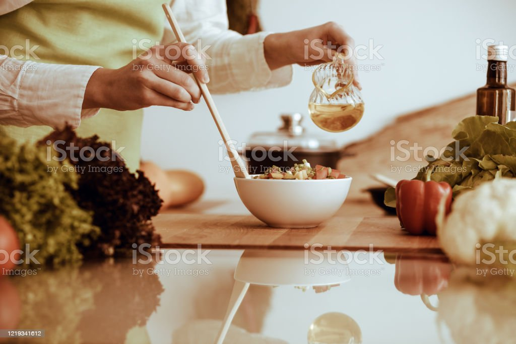 Unknown Human Hands Cooking In Kitchen Woman Is Busy With Vegetable Salad Healthy Meal And Vegetarian Food Concept Stock Photo Download Image Now Istock
