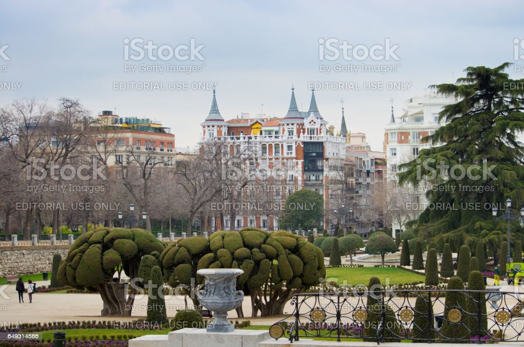 MADRID, SPAIN - FEBRUARY 20: Unknown people in Retiro park. Retiro park one of the largest parks of Madrid and favourite vacation spot of residents of the capital. stock photo