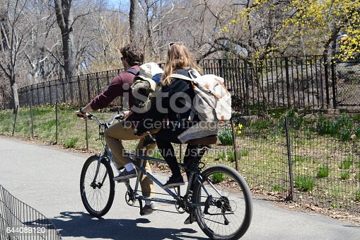 NEW YORK, USA - MARCH 26: Unknown people in the central park. The central park is one of the largest in the USA and the most known in the world on March 26, 2014 in New York, USA