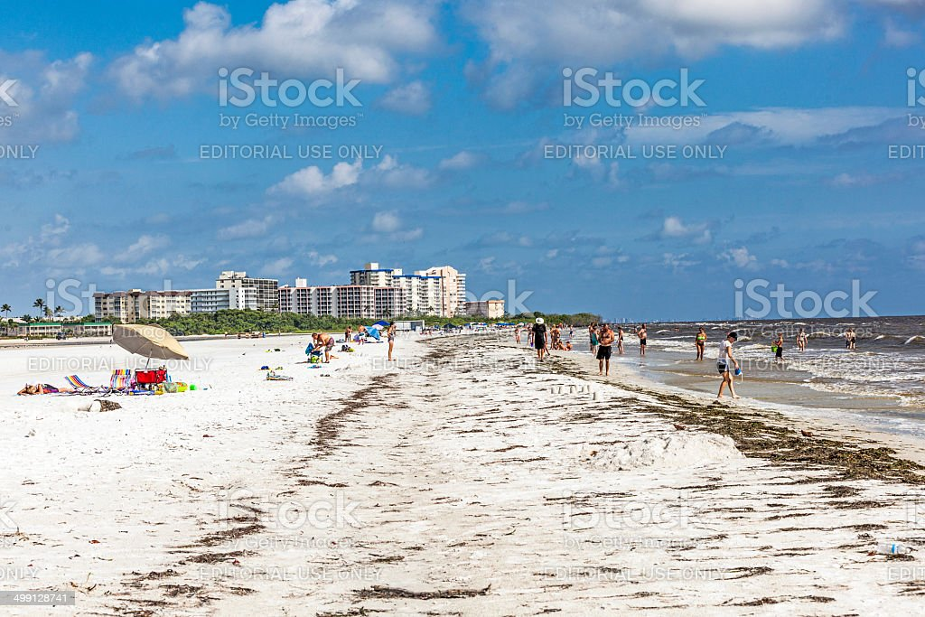 Unknown people on a beach in Fort Myers stock photo