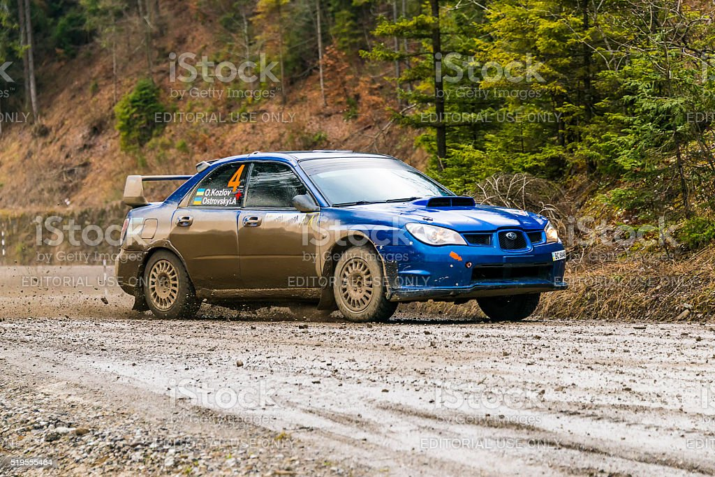 Unknown racer  on the car brand Subaru Impreza WRX stock photo