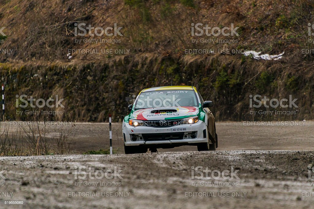 Unknown racer  on the car brand Subaru  overcome the track stock photo