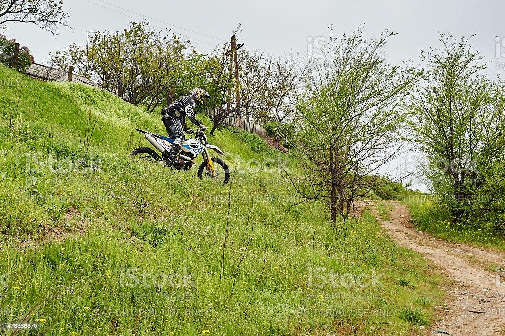 Unknown rider participates at training stock photo