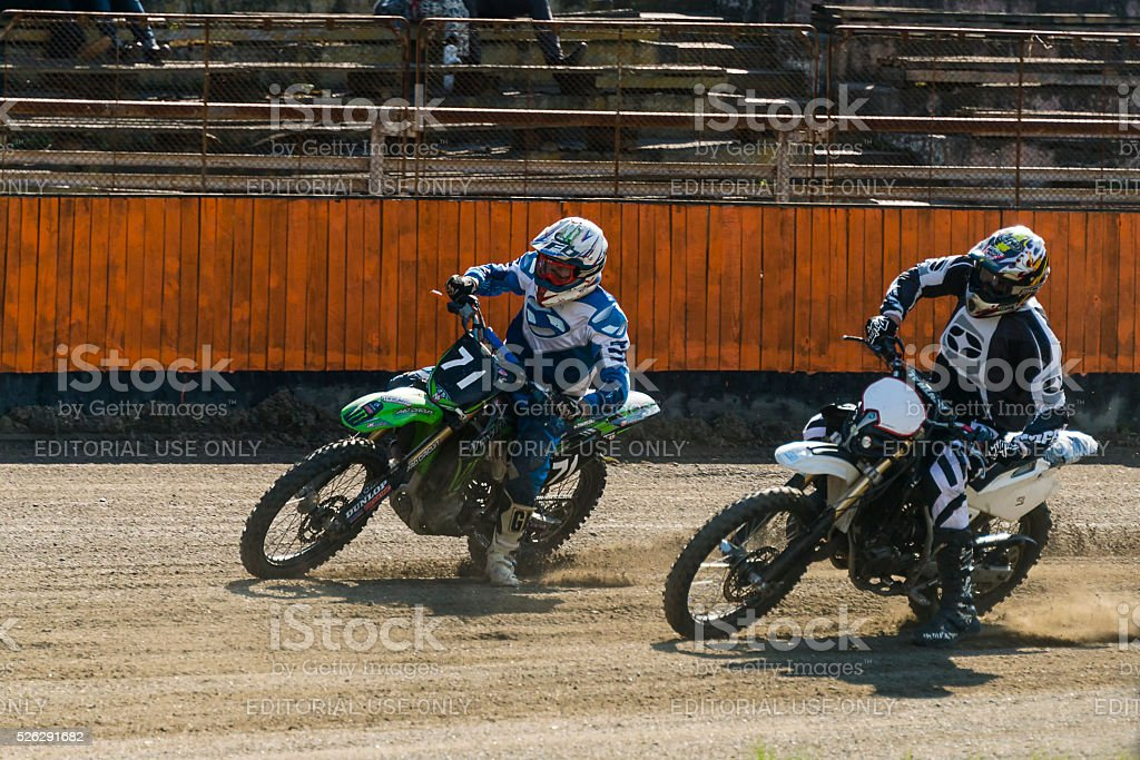 Unknown riders overcomes the track at the Flat Track National...
