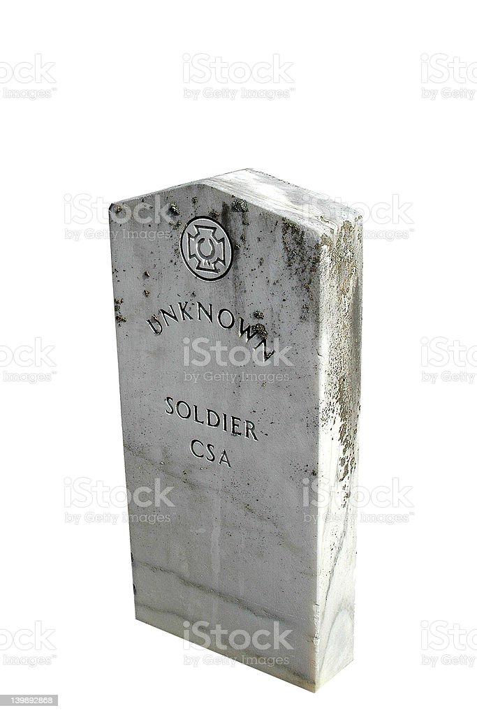 Unknown Soldier Headstone Isolated stock photo