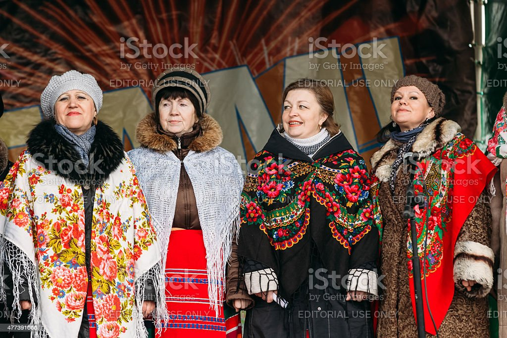Unknown women group in national clothes at Celebration of Maslen stock photo