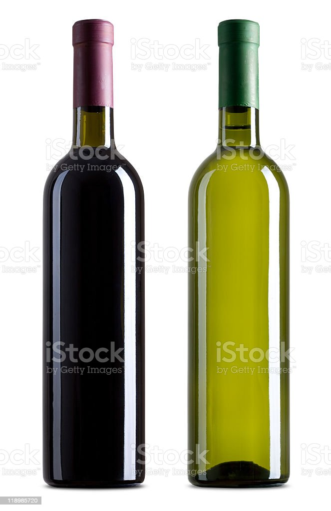 Unlabeled bottles of red and white wine on white background  royalty-free stock photo