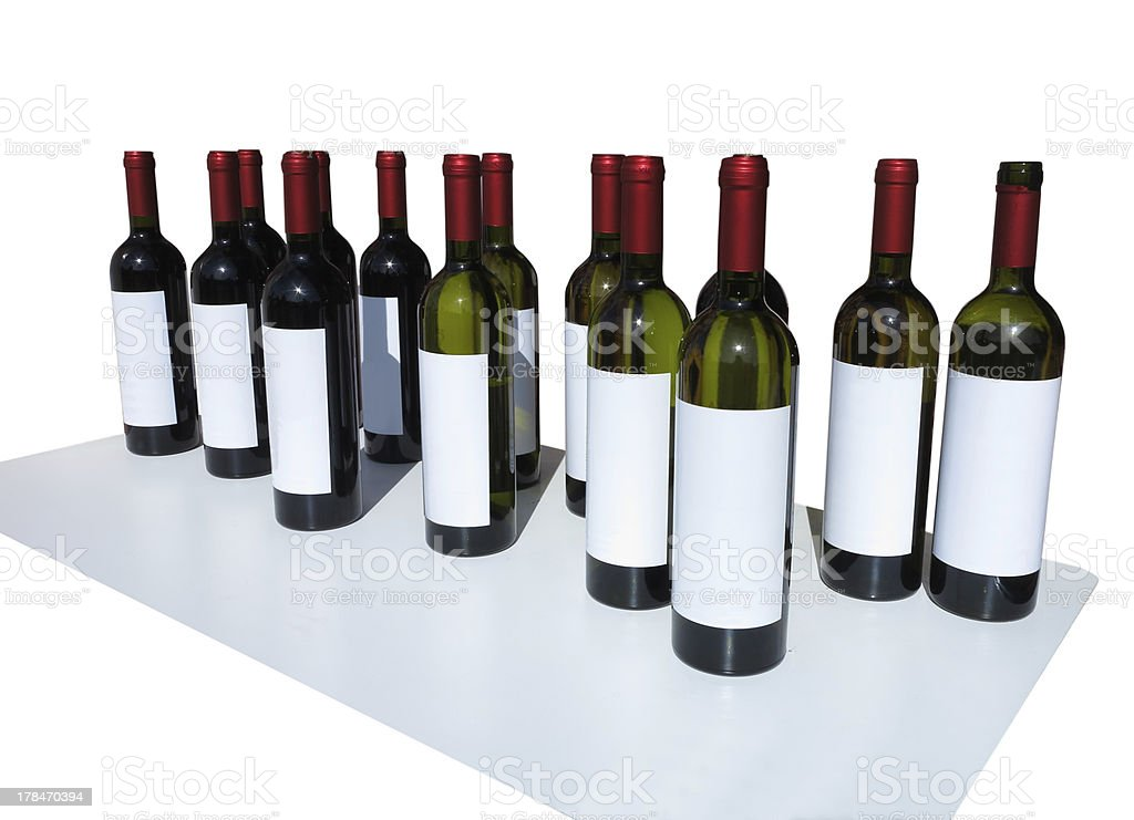 Unlabeled Wine Bottles Isolated over white royalty-free stock photo