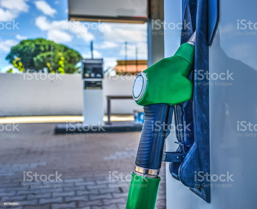 Unleaded fuel nozzle close up stock photo