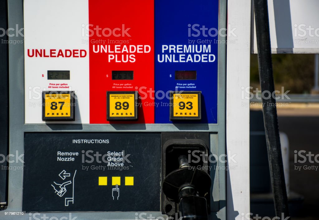 Unleaded gasoline a petrol chemical fossil fuel destroying our planet and causing climate change stock photo