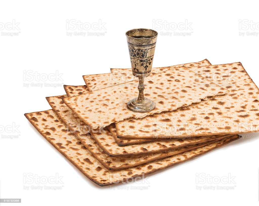Unleavened bread served at Jewish Passover stock photo