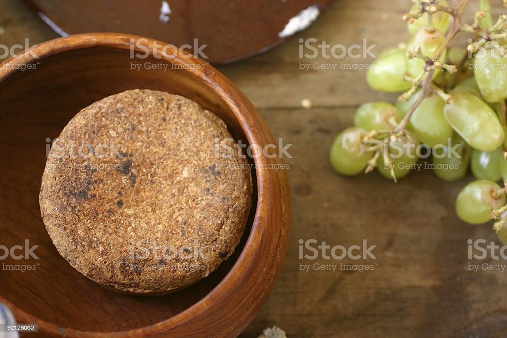 unleavened bread with green grapes royalty-free stock photo