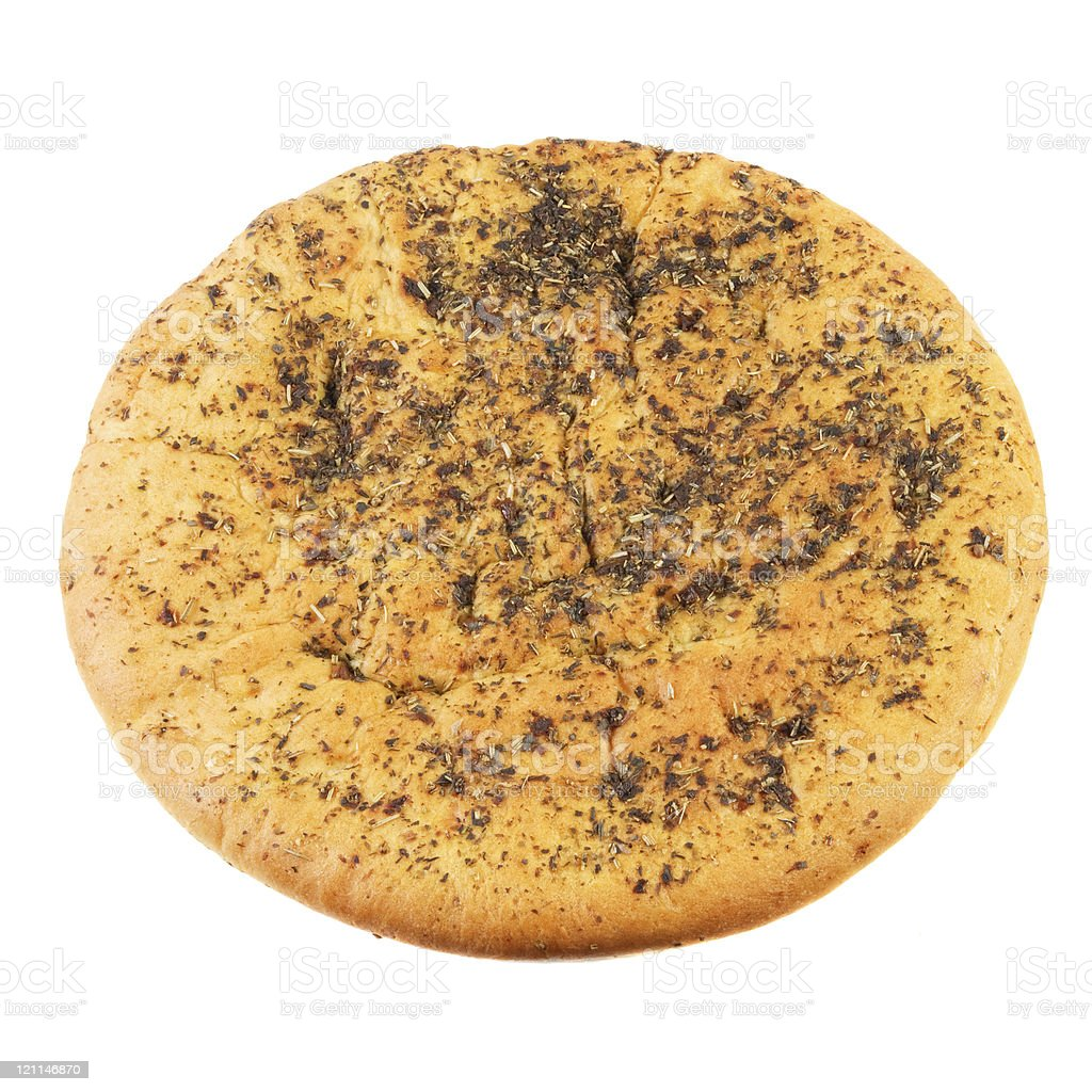 Unleavened wheat cake with spices . royalty-free stock photo