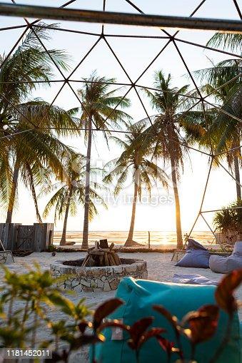 Unlit bonfire awaits you on luxury island resort