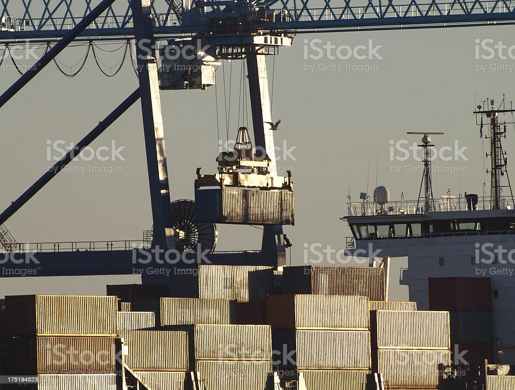 Unloading a container ship royalty-free stock photo