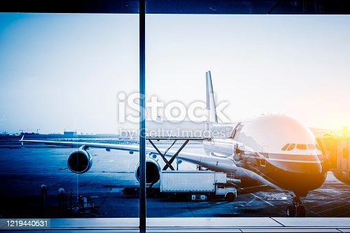 Unloading Airplane at shanghai airport, china.