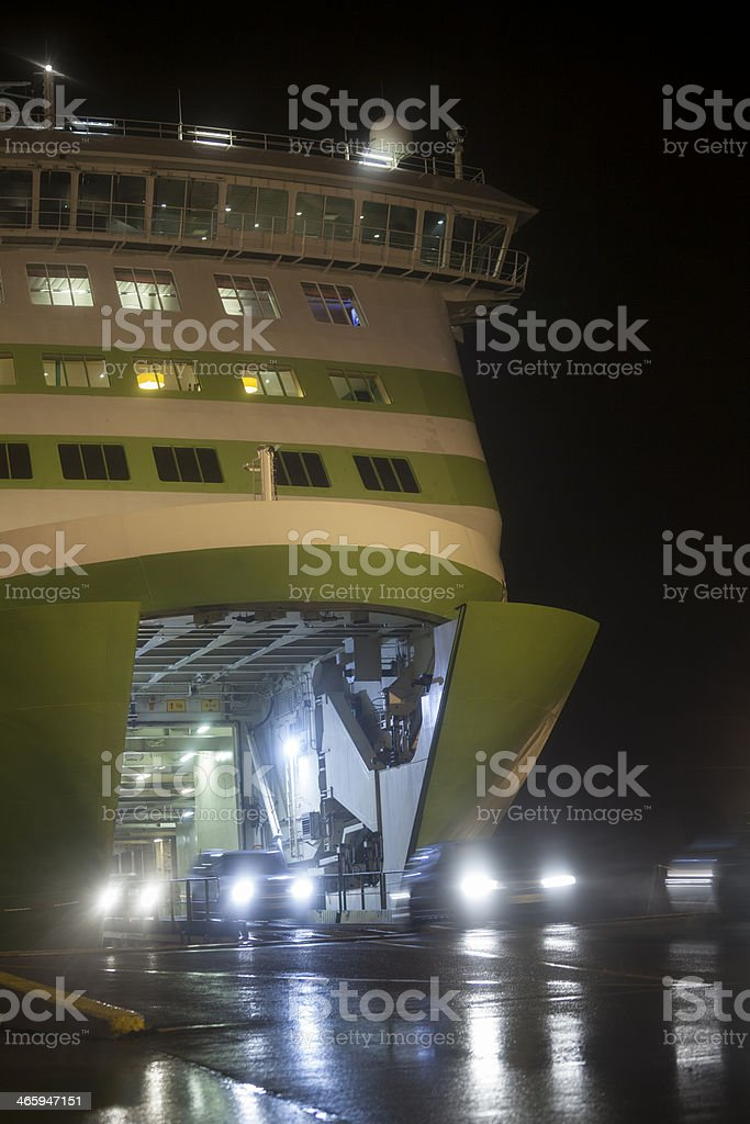 Unloading cars from the ship royalty-free stock photo
