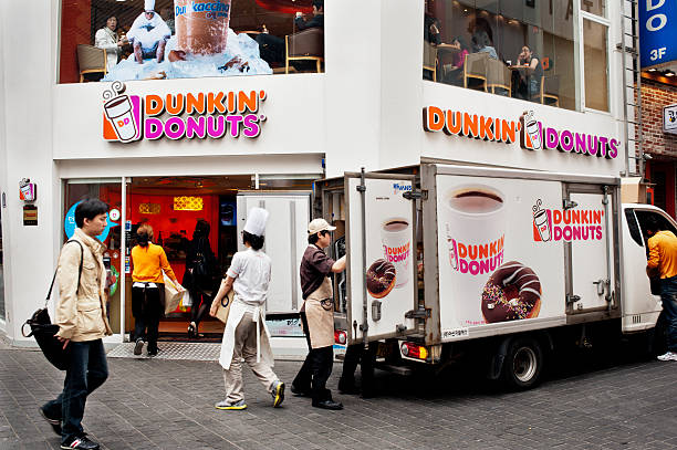 Unloading Dunkin Donuts stock photo