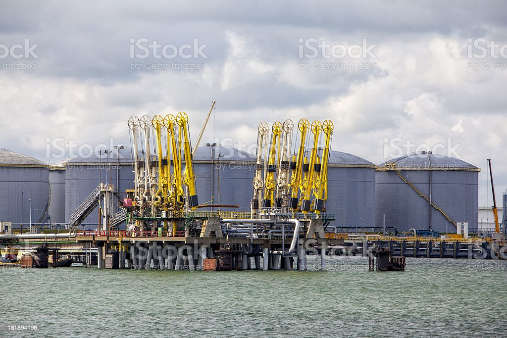 Unloading installation for supertankers royalty-free stock photo