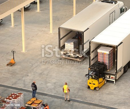 Lisbon, Portugal - 25th April 2019:ships staff supervising the new supplies