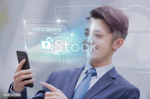 851960142istockphoto Unlock face ID scan 1028142890