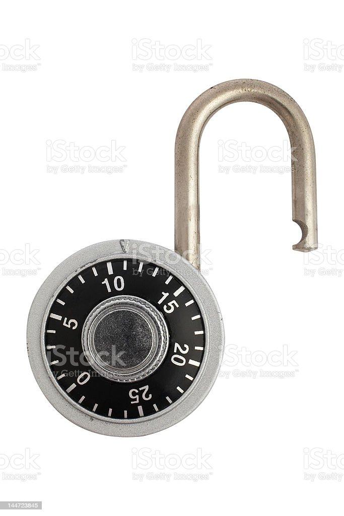Unlocked combination padlock stock photo