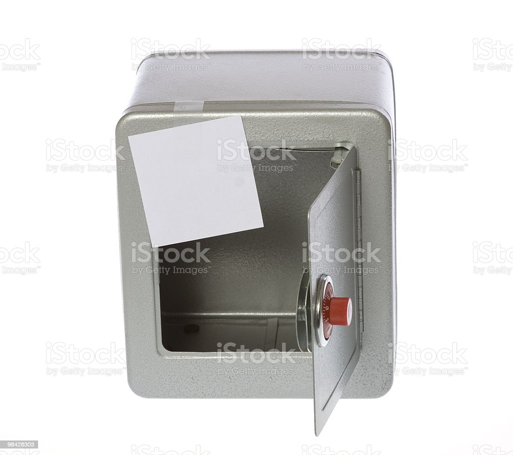 Unlocked, Open, Empty Safe with a Blank Note royalty-free stock photo