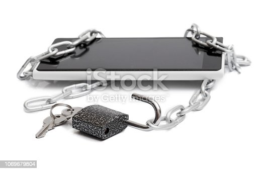 937370192 istock photo unlocked padlock in front of smartphone and chain, isolated on white background 1069679804