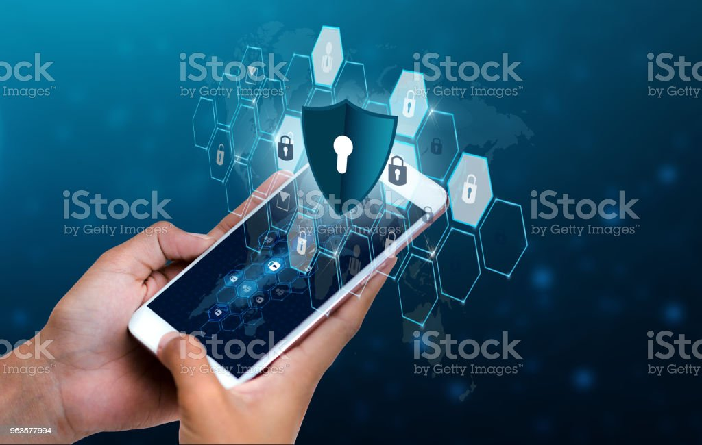 Unlocked smartphone lock Internet phone hand Business people press the phone to communicate in the Internet. Cyber security concept hand protection network with lock icon and virtual screens Space put message Blue tone - Foto stock royalty-free di Adulto