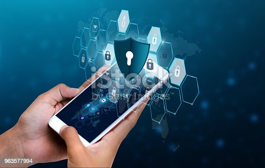 istock Unlocked smartphone lock Internet phone hand Business people press the phone to communicate in the Internet. Cyber security concept hand protection network with lock icon and virtual screens Space put message Blue tone 963577994