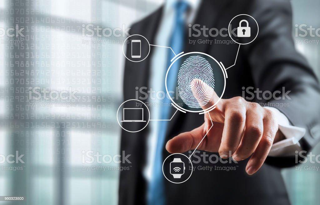 Entriegelung Geräte mit Fingerabdruckscan mit Biometrie – Foto