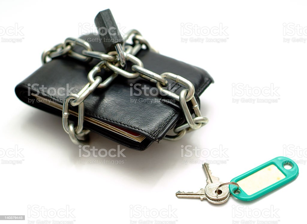 Unlocking money wallet sales royalty-free stock photo