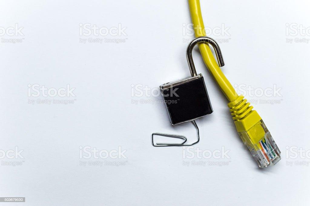 Aufschließen Vorhängeschloss Auf Einer Ethernet Netzwerk Daten Kabel ...